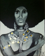 tableau personnages lady afro fashion style : AFRO LADY by SLN