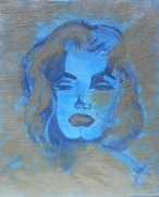 tableau personnages marilyn monroe sable portrait : Blue Marilyn