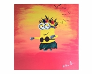 tableau personnages minions soleil couchant ile tahiti : minionette
