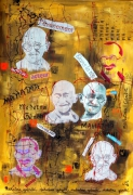 tableau personnages monotype collage dripping : Mahamtma Gândî
