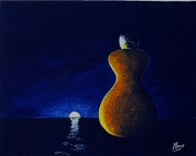 tableau personnages paysage coucher soleil lune mer : Silhouette 2