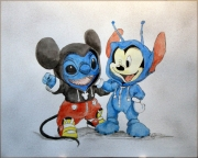 tableau personnages peinture acrylique mickey ami : 293 - Mickey et son ami