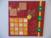 tableau rose jaune orange vert : Printemps framboise...
