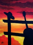 tableau scene de genre guitare western chapeau sunset : Just a country song