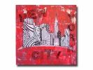 Tableau - Tableau toile design new york manhattan rouge noir