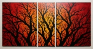 Tableau - Triptyque silhouettes branchages