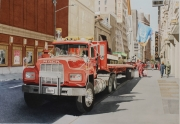 tableau villes camion pompiers new york rouge : NEW YORK camion Mack