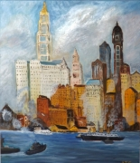 tableau villes impressionisme new york voyage annees folles : New-York ''East river 1920 ''